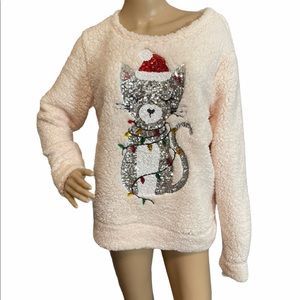 Miss Chievous Christmas Cat top, size Large